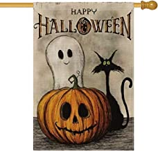 AVOIN Happy Halloween House Flag Vertical Double Sized, Spooky Ghost Pumpkin Jack O'Lantern Black Cat Burlap Yard Outdoor Decoration 28 x 40 Inch