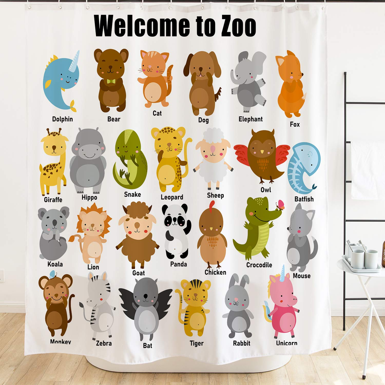 Ofat Home Colorful Cartoon Cute Animal Kids Shower Curtain for Bathroom, 72X72 Extra Long Shower CurtainNo Liner Needed (Welcome to Zoo)