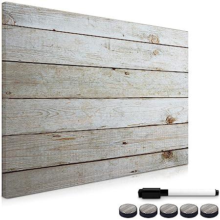 Navaris Tableau magnétique - Panneau mémo 70 x 50 cm avec aimants - Tableau mural design planche de bois avec marqueur et kit de fixation inclus