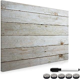 Navaris Tableau magnétique - Panneau mémo 70 x 50 cm avec aimants - Tableau mural design planche de bois avec marqueur et ...