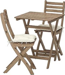 Opulence Trading Juego de muebles plegables para jardín (1 mesa + 2 sillas) y cojines incluidos.