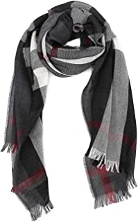 Mens Lightweight Wool Cashmere Tonal Charcoal Scarf