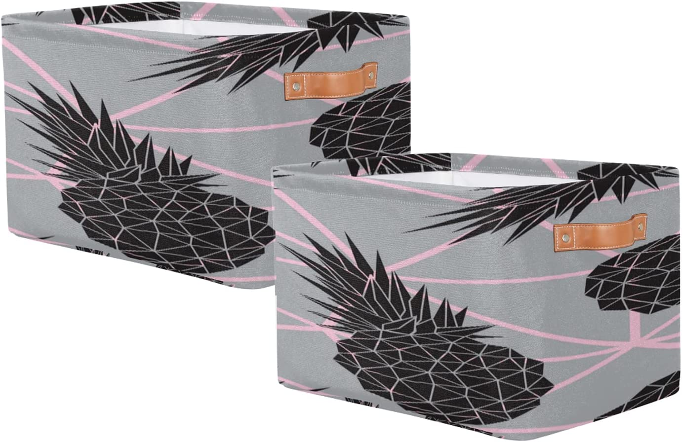 Storage Basket Set of 2 Sto Toy Rectangular Geometric Pineapple Department store Max 74% OFF