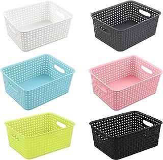 White Plastic Basket Kitchen Laundry Tidy Stackable Organizer Storage 35*27*22cm