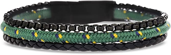Ben Sherman Men's Black Braided Leather and Rolo Box Chain with Green Cord 3 Strand Bracelet in Black IP Stainless Steel, Green, 8