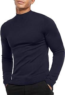 Sponsored Ad - KINGBEGA Men Regular Fit Basic Lightweight Long Sleeve Pullover Top Mock Turtleneck T-Shirt