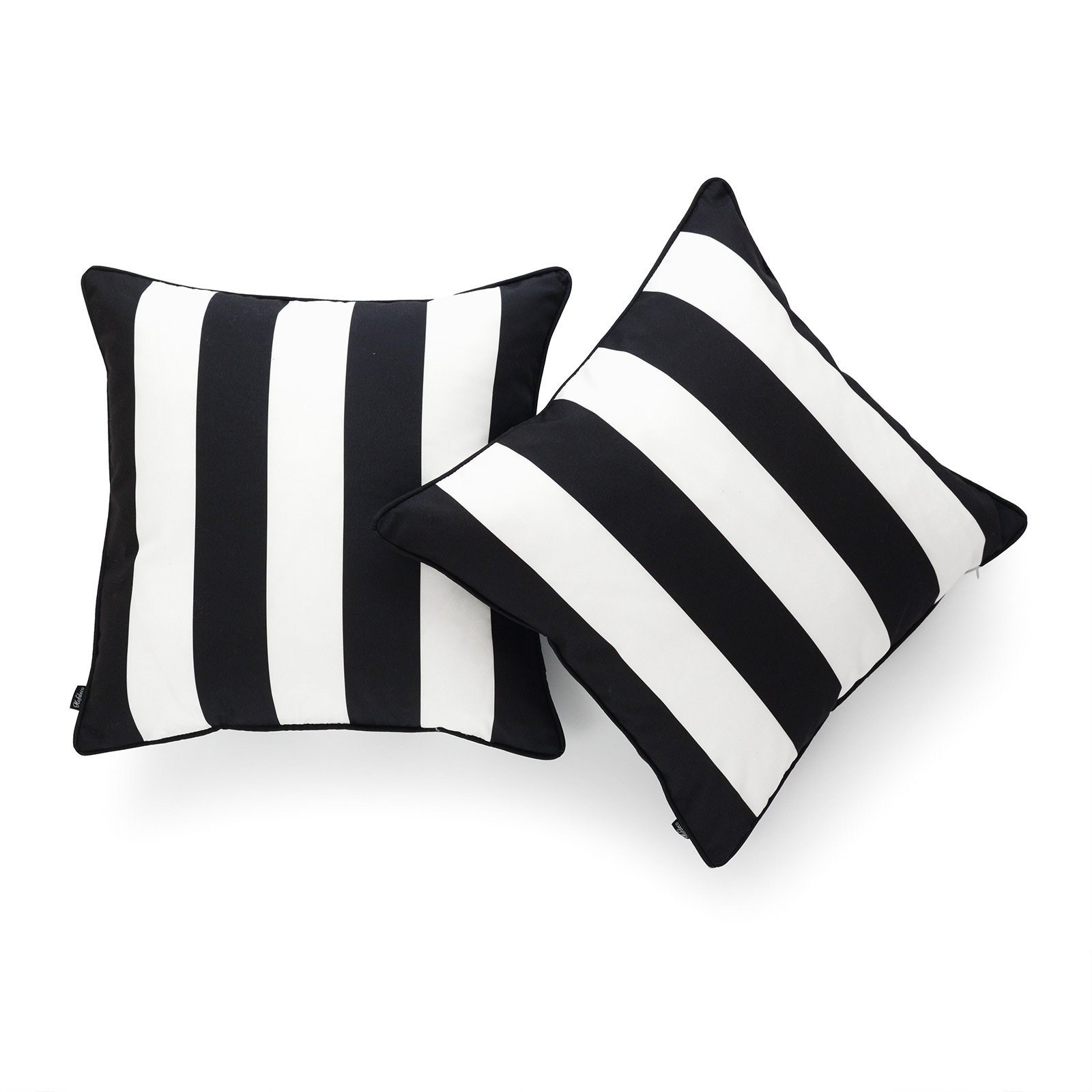 Hofdeco Indoor Outdoor Cushion Cover Only Water Resistant For Patio Lounge Sofa Black White Stripes 45cmx45cm Set Of 2 Cushion Covers Au