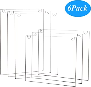 6-Pack Wall Mount Acrylic Sign Holder 8.5 X 11 Clear Plastic Display Frames for Document Paper, Picture, Posters, Certificate Photo & Menu(Mixed)