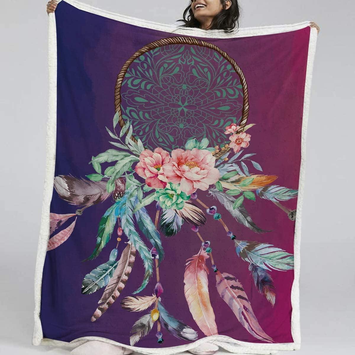 BlessLiving Super sale period limited Dream Catcher Blanket Flannel Reversib Sherpa Max 53% OFF Fleece