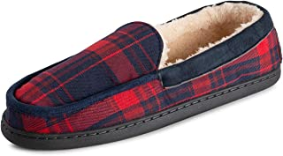 Polar Mens Memory Foam Moccasin Loafer Outdoor Durable Rubber Sole Cozy Faux Fur Plush House Slipper Duel Size