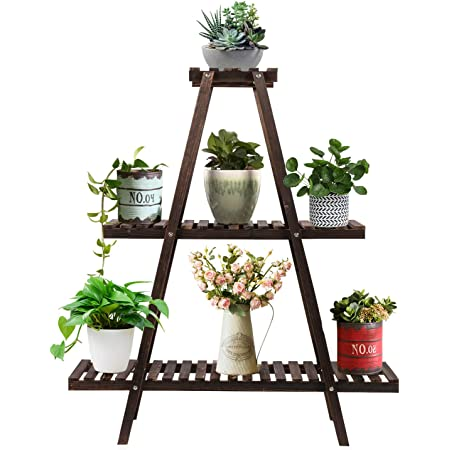 Augosta 3 Tier Wood Plant Stand Large Multi Tiered Plant Shelf For Multiple Plants Indoor Flower Pots Stand Outdoor Plant Shelves Rack Holder Garden Outdoor