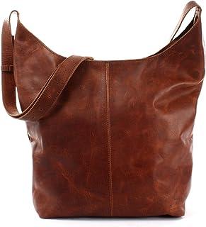 LECONI große Umhängetasche Damen Schultertasche praktische Ledertasche für Frauen Beuteltasche Vintage-Style Damentasche S...