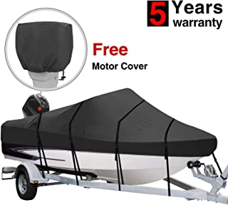 RVMasking Heavy Duty 600D Polyester Trailerable Boat Cover Black for 17'-19' / 20'-22'L V-Hull Runabouts Outboards and I/O Bass Boats