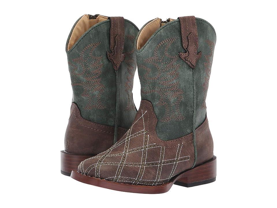 Roper Kids Crosscut (Toddler) (Diamond Checkered Brown Vamp/Green Shaft) Cowboy Boots