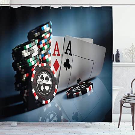 Shower Curtain Punk Style Poker Playing Cards Design Waterproof Fabric 12 Hooks