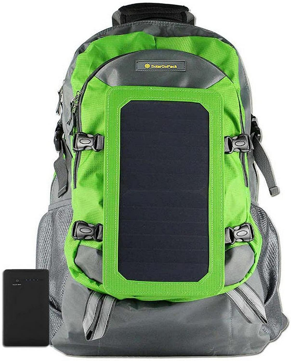 SolarGoPack Solar Powered Backpack   7 Watt Solar Panel and 10K mAh Charging Battery Daypack Phone and Electronic Device Power Charger Back Pack