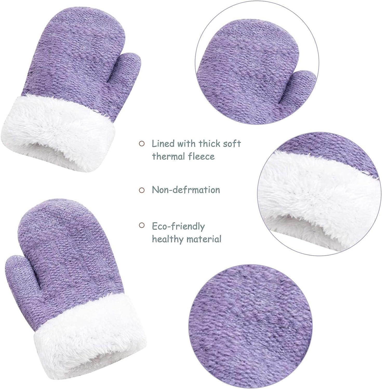 Girls Kids Winter Beanie Hat Mittens Set Warm Fleece Hat Baby Toddler Knitted Hat /& Gloves for Boys