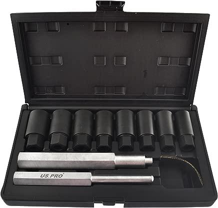 Tools-US Pro Locking Wheel Nut Bolt Hub Cap Removal Re Placer Kit 18-25mm 10pc AT248