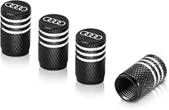 Qideloon Tire Valve Caps,Aluminum Valve Stem Caps Compatible with Audi Accessories Car,Trucks,Motorbike 4pcs (Black)