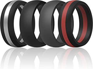 ThunderFit Mens Silicone Rings Wedding Bands - 7 Rings / 4 Rings / 1 Ring - Classic & Middle Line - 8.7mm Wide - 2mm Thick