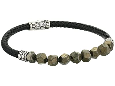 John Hardy Classic Chain Pusher Bracelet with Pyrite and Leather (Black) Bracelet