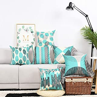 Yinnazi Modern Geometric Pattern Throw Pillow Covers Square Cushion Case for Couch Decorative Pillowcase for Home Decor Set of 6 Solid Color (Blue Green)