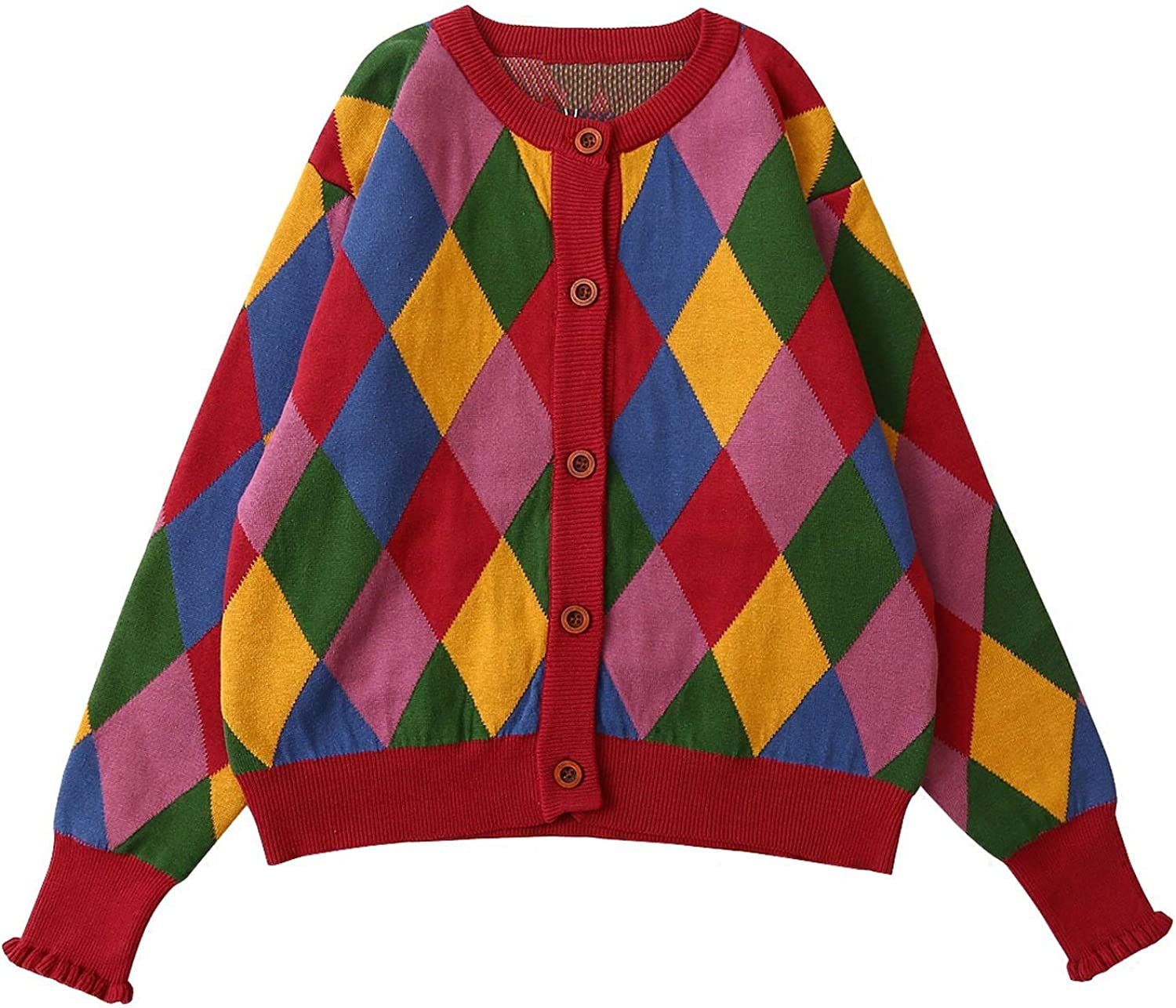 Don't mention the past 2019 Winter Sweater New Women Knit Cardigan Coat Vintage Diamond Plaid Knitwear Warm Cotton Female Thick Sweater,Multi,One Size