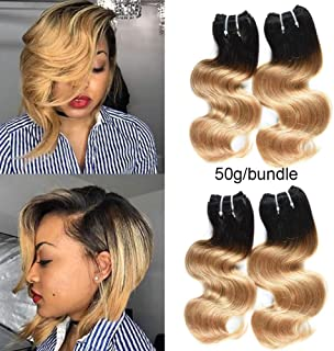 XCCOCO 10A Peruvian Hair Ombre Blonde Short Body Wave 4 Bundles/200g T1B/27# Black to Honey Blonde Ombre Remy Super Soft Human Hair Weave Extensions(10 10 10 10inch,50g/bundle)