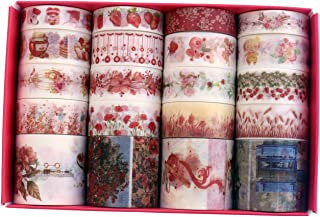 20 Rolls Vintage Red Washi Tape, Strawberry Kawaii Cake Floral Flower Washi Masking Tape Set for Scrapbooking, Bullet Journal, Planner, Gift Wrapping, Holiday Decoration
