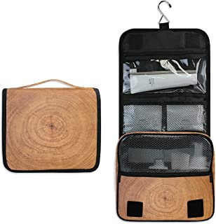 Bardic Hanging Travel Toiletry Bag Tree Stump Texture Large Capacity Makeup Cosmetic Bag Portable Toiletry Kit Organizer
