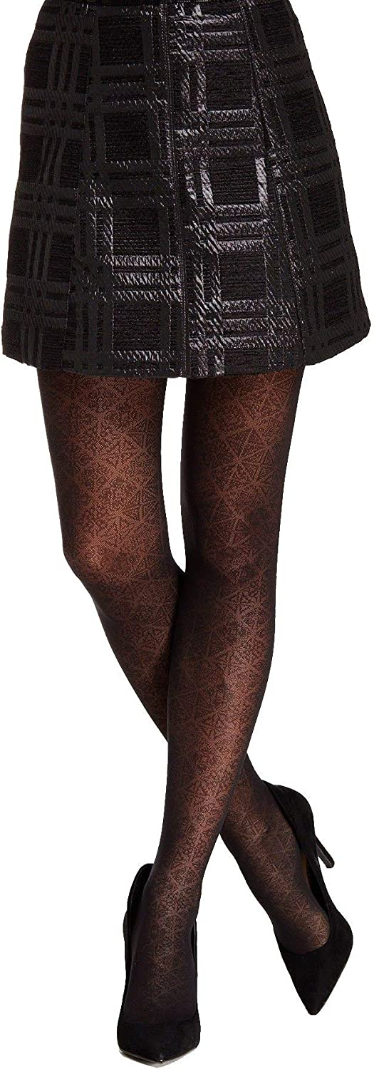 Spanx Women's Black Star Power By Center-stage Noveau Patterned Shaping Tights