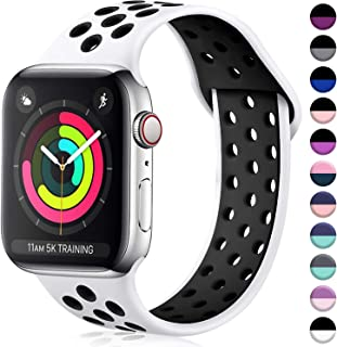 ilopee Waterproof Sport Band Compatible with Apple Watch Series 4 3 2 1, Fashionable Strap for iWatch 38mm 40mm, White/Black, S/M