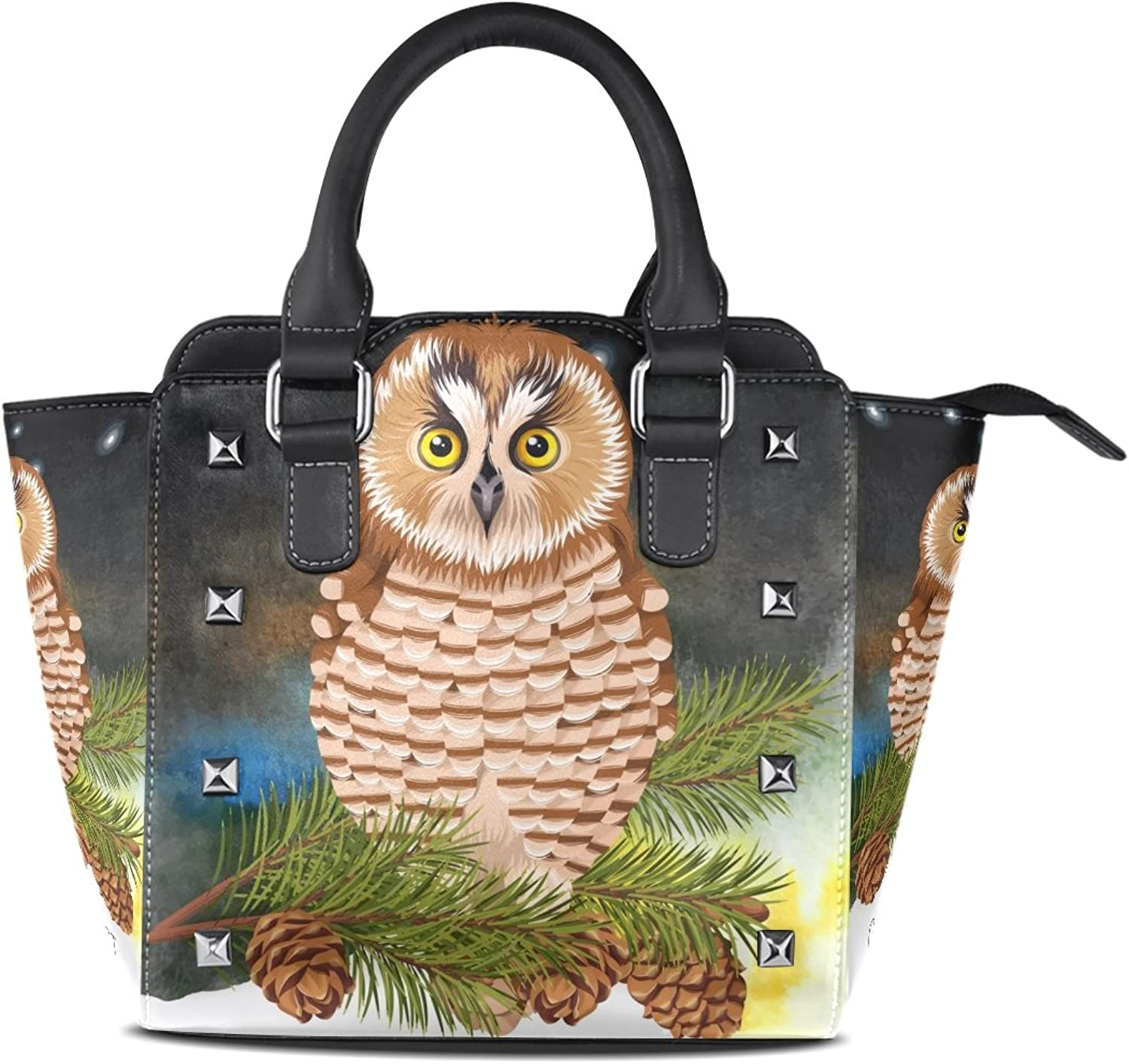 My Little Nest Women's Top Handle Satchel Handbag Forest Cute Owl Fir Branch Ladies PU Leather Shoulder Bag Crossbody Bag