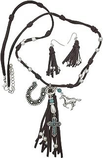Gypsy Jewels Long Faux Suede Tassel Fringe Western Style Horse Horseshoe Necklace & Earrings Set