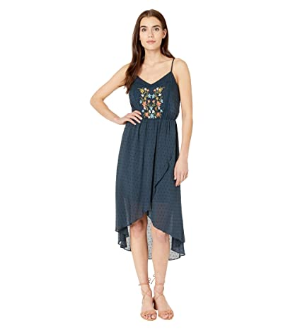 Miss Me Floral Embroidered Lace-Up Dress (Navy) Women