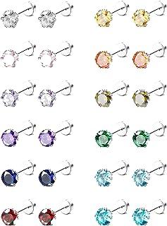 Adramata 12 coppia Acciaio inossidabile Zirconi cubici Set di orecchini a bottone per ragazze adolescenti Donna Multicolor...