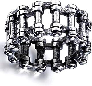 htrdjhrjy - Anillo de Cadena de Acero Inoxidable Estilo Steampunk, Estilo gótico, para Motocicleta, Moto, Moto, Color Plat...