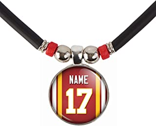 SpotlightJewels Personalized Football Jersey Necklace. Football Charm/Pendant Customized with Name and Number. Unisex Football Jewelry. (Available in 32 Styles)