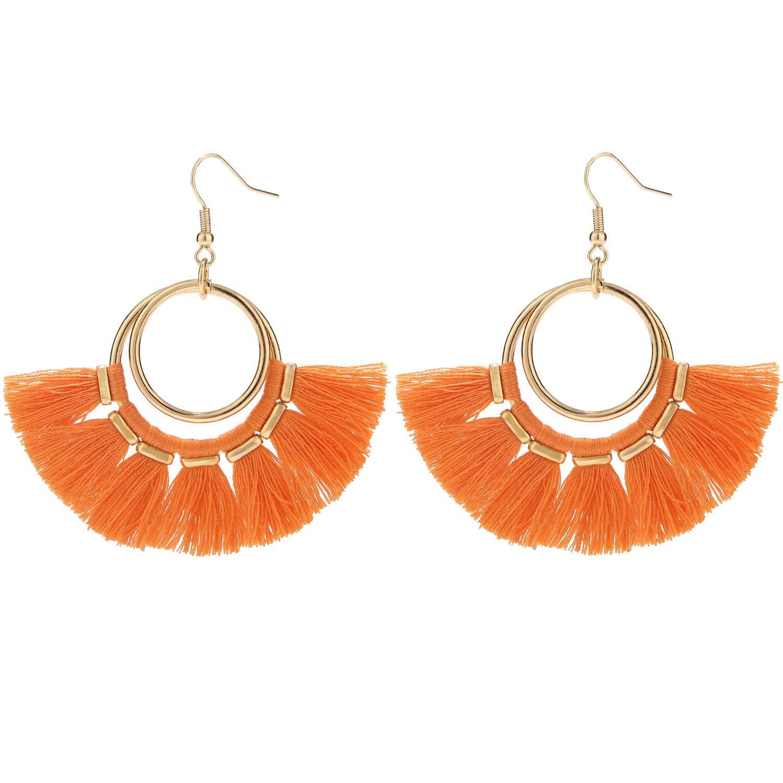 Wool Balls Earrings Bohemian Hoops Dangle Drop for Womens and Girls,Orange