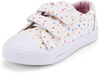 KomForme Toddler Sneakers for Boys and Girls Cartoon Dual Hook and Loops Sneakers Baby Canvas Shoes