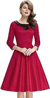 Belle Poque Women's 3/4 Sleeve Polka Dots 1950s Retro Vintage Swing Dresses BP41