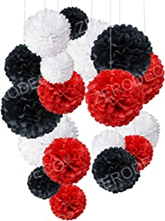 Tissue Paper Pom Poms, Recosis Paper Flower Ball for Birthday Party Wedding Baby Shower Bridal Shower Festival Decorations, 18 Pcs - Red Black White