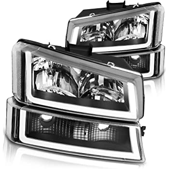 Headlights Assembly for 2003-2007 Chevy Silverado 1500 2500 3500 1500HD 2500HD 2003-2006 Chevy Avalanche with Black Housing Amber Reflector Clear Lens Headlamps Replacement for Driver /& Passenger Side