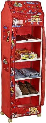 Archana Multipurpose preimum Baby Kids Almirah Wardrobe Cupboard Clothes Storage Organizer Toy Box for Living Room Bedroom (6 Shelf, Red)
