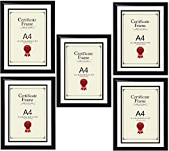 Star Online A4 Certificate Photo Picture Frame, Black x 5 Frames