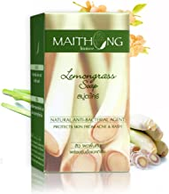 Maithong Lemongrass Natural and Herbal Thai Soap Anti-Bacterial Agent , Protects Skin from Acne & Rash, Reduce Black Spots