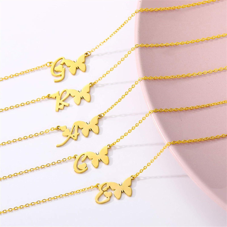 WAZG SYBLD Alphabet Butterfly Necklace (Length : 45cm, Metal Color : Y)