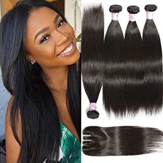 Beauty Forever Hair Brazilian Virgin Straight Hair Weave 3 Bundles with 1 Piece 3 Part Lace Closure 100% Unprocessed Human Hair Extensions Natural Color (10 12 14+ 10closure)