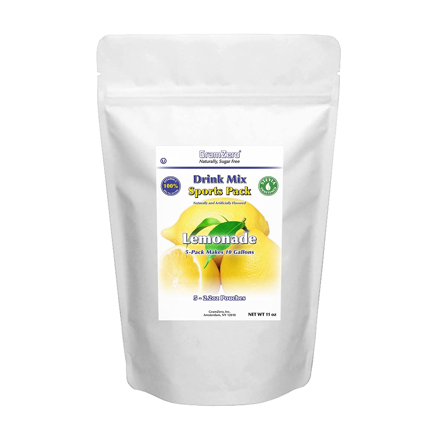 GramZero Lemonade Sugar Free Drink Mix Sports Pack, Great For Nutrition Club Loaded Teas, Low Calorie, Stevia Sweetened