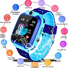 Zqtech Kids Smartwatch - GPS Tracker Smartwatches Wrist Digital Watch Phone SOS Alarm Clock Camera Phone Watch for Children Age 3-12 Boys Girls with iOS Android